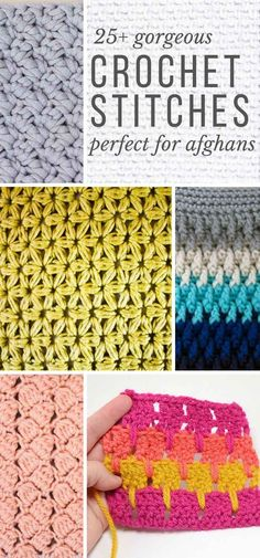 This collection of modern crochet stitches for blankets and afghans is sure to provide inspiration for your next project! Whether youre making a quick baby blanket or a large throw, these crochet stitch tutorials have you covered. - The Crocheting Place Crochet Simple, Crochet Diy, Learn To Crochet, Crochet Crafts, Crochet Ideas, Crochet Tutorials, Crochet Snood, Crochet Owls, Crochet Unicorn