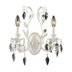 Crystal Leaf Antique White Two-Light Sconce