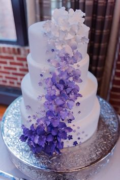 Purple Ombre Brunch Wedding Sharing a heart warming and uttlerly fun ombre brunch wedding at the famed DC Rizt Carlton Georgetown by Chris Ferenzi Photography. Purple Cakes, Purple Wedding Cakes, Elegant Wedding Cakes, Beautiful Wedding Cakes, Wedding Cake Designs, Beautiful Cakes, Dream Wedding, Wedding Flowers, Autumn Wedding