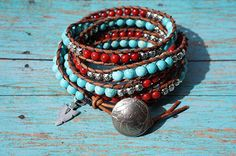 Amazon.com: Boho Western Leather Wrap Bracelet, Turquoise, Red Coral, Native American Inspired: Handmade