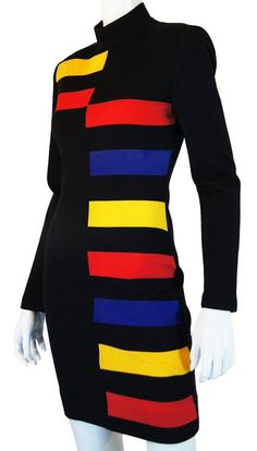 Patrick Kelly Color Block Designer Dress.