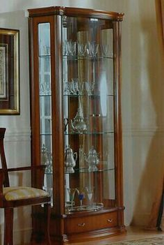 Corner Display Cabinet Glass, Antique Display Cabinets, Vintage China Cabinets, Crockery Cabinet, Curio Cabinets, Kids Storage Furniture, Space Saving Furniture, Dream Furniture, Luxury Furniture