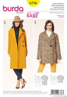 Burda Style Jacket & Coat 6736 - The Foldline Burda Sewing Patterns, Coat Pattern Sewing, Sewing Coat, Coat Patterns, Jacket Pattern, Clothing Patterns, Skirt Patterns, Pattern Drafting, Blouse Patterns