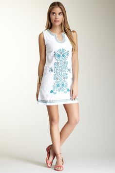 Blue Print Embroidered Tunic Dress by Summer Finds on @HauteLook