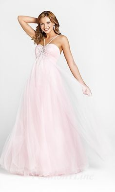 Shop Blush formal prom dresses at PromGirl. Long designer gowns, unique print dresses, long formal ball gowns and sexy short dresses for prom. Chiffon Dress Long, Tulle Prom Dress, Strapless Dress Formal, Pink Formal Dresses, Girls Dresses, Dresses Dresses, Long Dresses, Sleeveless Dresses, Blush Dresses