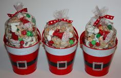 Santa Party Mix in fun containers that could be used for lots of gifts.Santa Party Mix - red solo cup and duct/electrical tape?Santa Party Mix Merry Christmas to my freakin' neighbors!Santa Party Mix with Santa hats made out of Bugles!I saw the idea Christmas Party Favors, Christmas Goodies, Diy Christmas Gifts, Christmas Projects, Christmas Treats, Holiday Fun, Christmas Holidays, Christmas Decorations, Merry Christmas