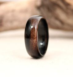 Malaysian Blackwood Wood Ring from Wedgewood Rings on Etsy.