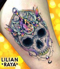 Skull Tattoos - Tattoo Insider - Skull Tattoo by Lilian Raya - . - Skull Tattoos – Tattoo Insider – Skull Tattoo by Lilian Raya – - Girly Skull Tattoos, Skull Tattoo Flowers, Sugar Skull Tattoos, Cute Tattoos, Beautiful Tattoos, Body Art Tattoos, Tatoos, Lace Skull Tattoo, Skull Sleeve Tattoos