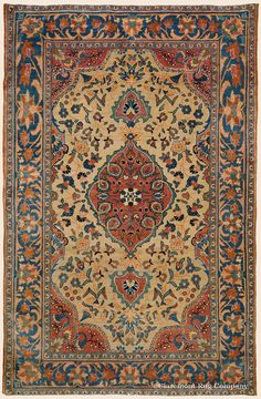 "Antique Circa 1910 High-Decorative Central Persian Kashan Rug 3' 1"" x 4' 10"" - Price: $7,500- Claremont Rug Company"