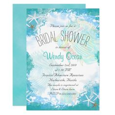 Under the Sea Bridal Shower Card Under the sea, beach bridal shower invitations. Modern text, and elegant beach wedding theme design in aqua and turquoise. Tropical fish and starfish decorate this wedding stationery, and every line of text can be customized. Make it a wedding shower and include the names of the bride and groom. The tag shape can easily be changed, with specialty paper options available.