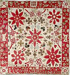 An English quilt dated 1852 signed Lucy Hasell (?)Horses and hearts are a recurring theme. Old Quilts, Antique Quilts, Vintage Quilts, Modern Quilt Blocks, Red And White Quilts, American Quilt, Sampler Quilts, Green Quilt, Traditional Quilts