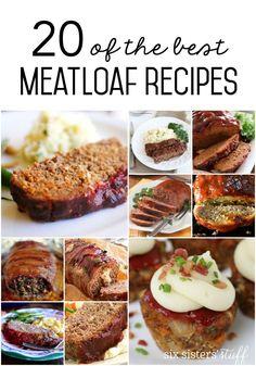 20 of the Best Meatloaf Recipes – Six Sisters' Stuff Good Meatloaf Recipe, Best Meatloaf, Meatloaf Recipes, Pork Meatloaf, Meatball Recipes, Meat Recipes, Slow Cooker Freezer Meals, Slow Cooker Chicken, Vinaigrette