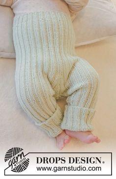 """Ribstrikkede DROPS bukser i """"Baby Merino"""". Str præmatur - 4 år ~ DROPS Design"""