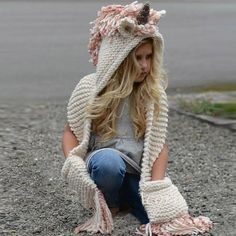 Unicorn Hood & Scarf for Girl's Women Handmade Crochet Hood Hat Long Scarf Pink Beige and Cream fits Girl Age 6 to Adult Gift Ideas Birthday Christmas Outerwear Kids Children's Clothes