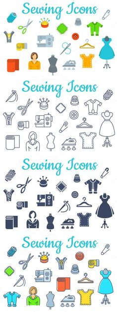 Sewing tools flat vector icons. Icons. $6.00