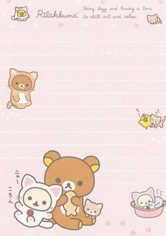 Rilakkuma, Memo Examples, Kero Sakura, Scrapbooks, Cute Letters, Cute Stationery, Stationery Paper, Cute Notes, Character Wallpaper