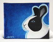 Black and White Dutch Rabbit 5x4 Acrylic Bunny Painting