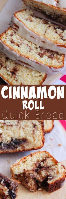 Cinnamon Roll Quick Bread - This bread is so soft with a gooey cinnamon swirl.