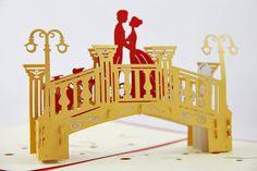 Puente de amante Pop up tarjeta tarjeta 3D hecho a mano regalo San Valentín…