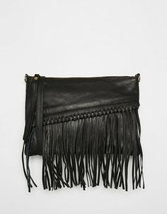 Mango Festival Cross Body Leather Fringe Bag
