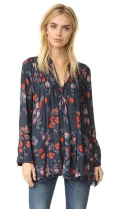 Free People So Fine Smocked Printed Tunic