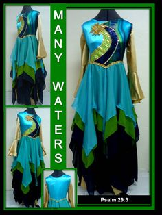 """The Master's Touch Creations features our overlay called """"MANY WATER"""". This overlay has 24 panel of Kiwi, Turquoise & Navy chiffon fabric that creates extremely great flow when worshipping the Living God through movement. Shown with Gold Satin Unity Pants & Top sold separately.   To see more visit us at http://themasterstouchcreations.com/    Our inspiration came from:  Psalm 29:3   The voice of the Lord is upon the waters: the God of glory thundereth: the Lord is upon many waters"""