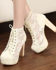 best service facdc de990  shoes  cream high heels  lacy Lace Up Ankle Boots, Lace Heels, Shoes High