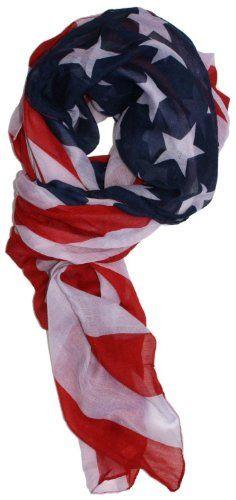 Elegant Long American US Flag Patriotic Scarf