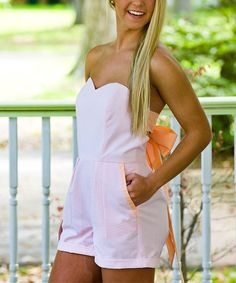 This Southern Belle Collections Peach Bow Back Tie Romper by Southern Belle Collections is perfect! #zulilyfinds