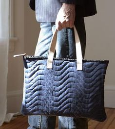 Repurposed Moving Blanket Laptop Bag