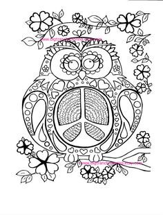 adult coloring page colouring peace owl hippie coloring hand drawn printable digital download - Coloring Page Owl