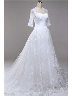 Graceful A-Line Floor-Length Sweet-Heart Appliques Wedding Dress