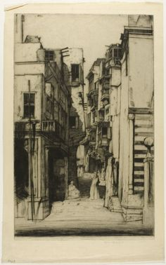 Street in Cairo, 1910 by Sir David Young Cameron (Scottish 1865 - 1945)