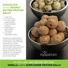 Chocolate Peanut Butter Protein Balls. Using Isagenix Whey.