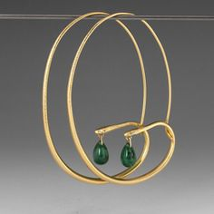 Gabriella Kiss: Large 18k Gold Snake Hoops with Emeralds