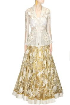 Ivory and gold fully embroidered lehenga set - Rahul Mishra