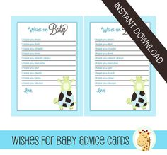 Super cute idea for a frog or turtle baby shower! This wishes for baby card lets guests write down their hopes and dreams for baby. Makes a cute keepsake for baby's scrapbook. Instant download is convenient. Print out at home or any office store!