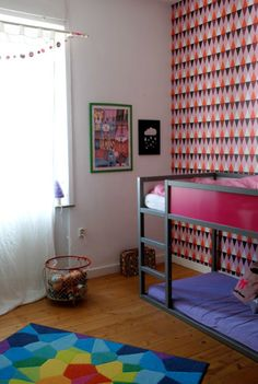 Customized Kura Bed in Pink and Purple Girl's Room - that accent wall is amazing! #biggirlroom