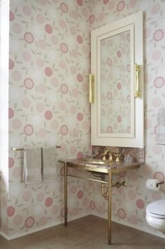 osborne & little sukura/asuka floral wallpaper.  love the gold accents in the finishes | jessica lagrange interiors.