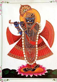 The mesmerising flutist, Krishna Krishna Painting, Madhubani Painting, Krishna Art, Shree Krishna, Pichwai Paintings, Indian Art Paintings, Rajasthani Art, Spiritual Paintings, Ganesha Pictures