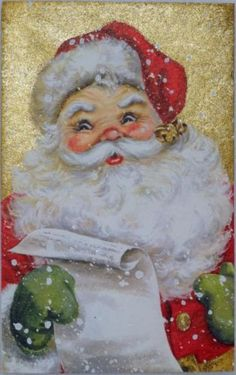 #1075 50s Hallmark Glittered Santa Claus-Vintage Christmas Greeting Card