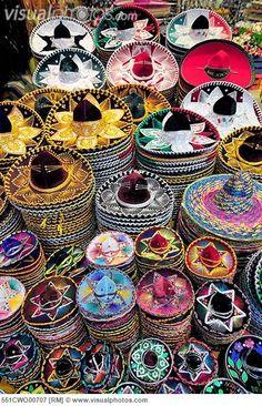 Colorful sombreros in Mexico - souvenirs