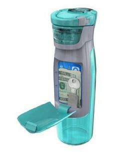 A water bottle for the gym that holds your personal things- house key, money, d