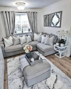 home decorators collection Silver Living Room, Living Room Grey, Home Living Room, Apartment Living, Living Room Designs, Living Room Decor Cozy, Family Room, Interior Design, Luxury Interior
