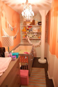 @Amanda Colemanwalk in closet nursery!! This is like your space isn't it? Why would they put a pillar in such a small place?