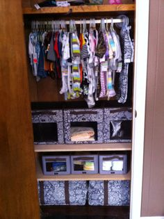 Child's closet organized by Thirty One.  I really do love the Your Way Cube for storage.  You can see exactly what's in there without having to go through box after box! Need a catalog or wanna host an online party?  Contact me by clicking through the image!