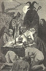 Une messe noire est un rite satanique, considéré comme une profanation du culte chrétien. Les participants assistent à des rituels macabres et donnent leur âme au Diable. En 1675, l'épouse de Louis XIV en fit une. Elle se dévêtit et se coucha sur les dalles froides et humides du château, les bras en croix, un cierge dans chaque main, et l'abbé déclama la messe sur son corps, un calice sur son ventre. Puis, il souleva un nourrisson, lui trancha la gorge et récolta son sang dans le calice.