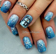 Acrylic nails by Lisa Korallus Snowflake Nail Design, Snowflake Nails, Christmas Nail Designs, Christmas Nail Art, Holiday Nails, Xmas Nails, Christmas Snowman, Vanessa Nails, Nails By Lisa