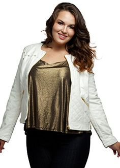 Stylzoo Womens Plus Size Quilted Faux Leather Jacket with Gold Hardware White 1X * Read more reviews of the product by visiting the link on the image.