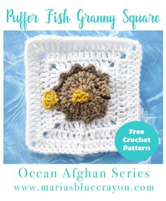 Puffer Fish Granny Square   Puffer Fish Applique   Free Crochet Pattern   Ocean Afghan Series